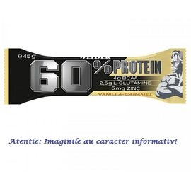 60% Protein Bar (Baton) cu Aroma de Vanilie - Caramel 45 g Weider, image