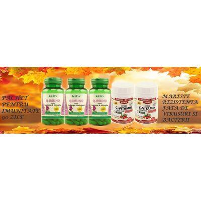 Pachet Imunitate 90 zile Q Imuno cu Cordyceps & Astragalus 60 capsule Kotys 3 cutii + Vitamina C Retard 1000 mg cu Extract de Macese + D3 45 comprimate JutaVit 2 cutii, image 1