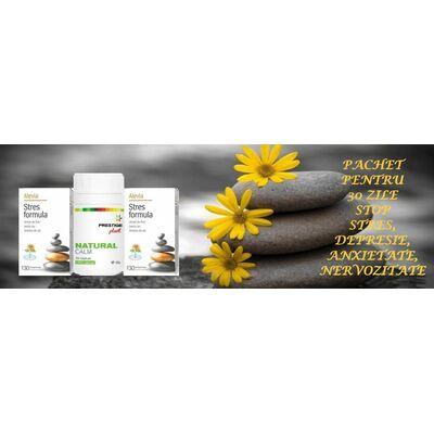 Pachet pentru 30 zile Stop Stres Depresie Anxietate Nervozitate Stres Formula 30 comprimate Alevia 2 cutii + Natural Calm 60 capsule Prestige Plant, image
